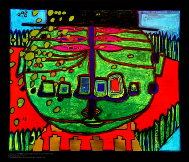 friedensreich hundertwasser three eyed green buddha with hat c1963